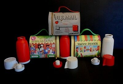 1961 Vintage Rare Universal issue set of 3 Vinyl Dome Lunchbox thermos set Wow!!