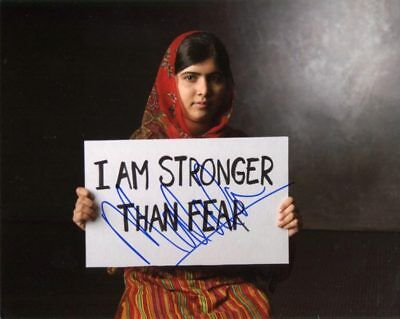 MALALA YOUSAFZAI  - Signed Photograph with the slogan `I AM STRONGER THAN FEAR`