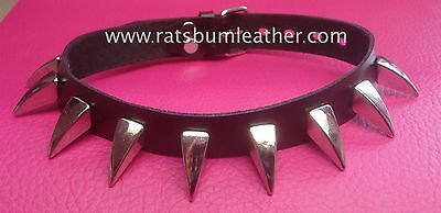 DRAGON CLAW SHARK TOOTH LEATHER CHOKER collar steam punk spike studded dog style