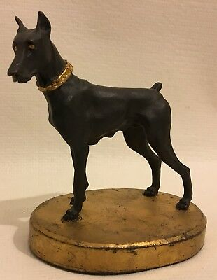 Vintage Doberman Pincher Cast Resin of Bronze Sculpture Gorgeous Detail 5.5x5.5""