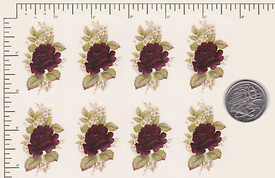 """8 x Ceramic decals Decoupage Deep Red Roses Flower 2"""" x 1"""" COMBINE POSTAGE PD93"""