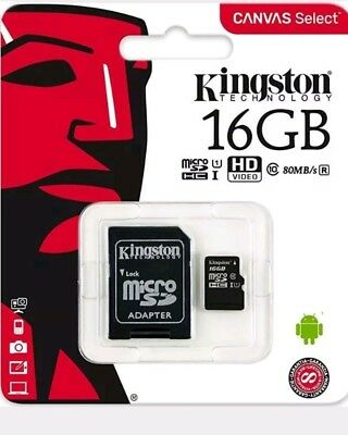 GENUINE 16GB KINGSTON MICRO SDHC MEMORY CARD WITH SD ADAPTER TF HC - class 4