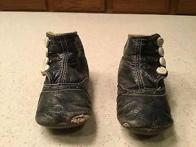 Vintage Child Childrens Shoes Black Leather  button Shoes Used with Hole
