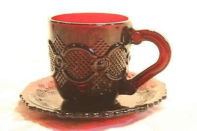 1876 Cape Cod Avon Ruby Red - CUP & SAUCER SET  - Elegant Tableware