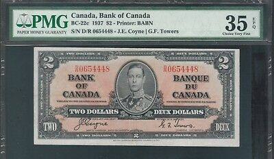 1937 Canada Bank Note $2 KGV BC22c  Coyne/Towers PMG VF35 EPG TMM*