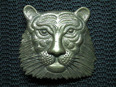 Lion Face Belt Buckle! Vintage! Very Rare! Baron Buckles! 1978! Brass! Taiwan!