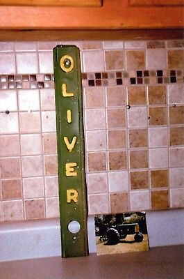 Vintage Oliver Tractor Front Nameplate With Photo, Old Store Wall Display Piece