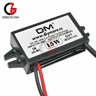 DC-DC 12V to 5V 3A Converter Step Down Power Supply Module Micro USB Waterproof
