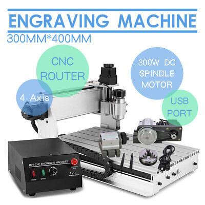 New 4 AXIS USB CNC ROUTER ENGRAVER ENGRAVING DESKTOP CUTTING 3040 CUTTER T-SCREW