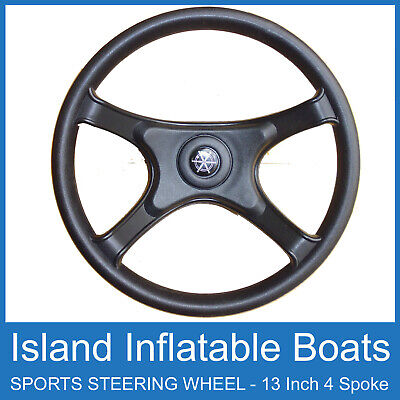 "BOAT STEERING WHEEL ✱ STORM BLACK 3-SPOKE ✱ 340MM / 13"" Marine Sports FREE POST"