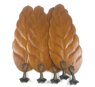 Wood Carved Wooden Leaf Ceiling Fan Blades Brass Arms 5 Large Leaves Usa