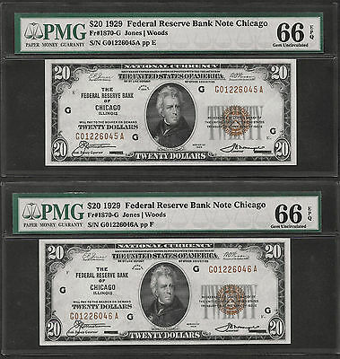 (2)  Consecutive 1929  $20  Frbn  ♚♚ Chicago ♚♚ Pmg Gem Unc 66 Epq