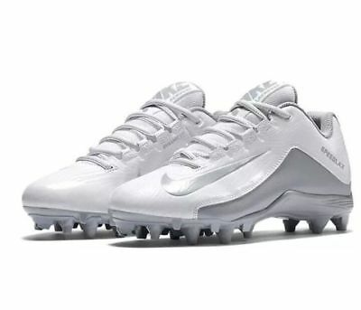 Nike Size 11.5 Speedlax 5 Lacrosse Cleats LAX White Silver Shoes 807158-100 $110