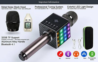 H8 Handheld KTV Microphone Wireless Bluetooth Karaoke Home Mic Speaker Player