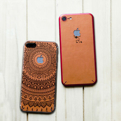 Mandala Flowers Real Leather Sticker&Metal Bumper Phone Cover Skin For iPhone 7+