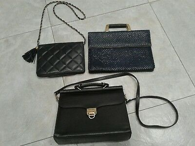 Lot of 3 Vintage Navy Blue PURSES BAGS Metal Mesh, quilted LEATHER, chain strap