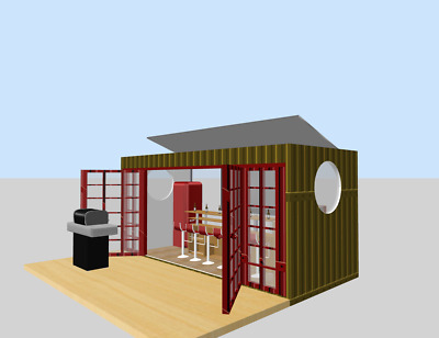 Prefab Home Container MiniBar ManCave Backyard Shed House Hotel Cabin 17FT 110SF