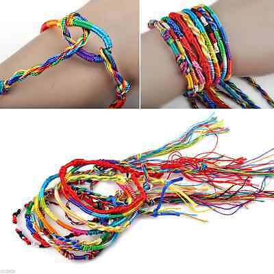 10/20/50X Handmade Colorful Woven raided Rope Friendship Bracelets Hippie Anklet