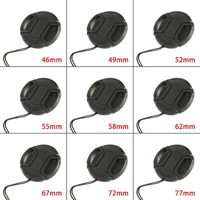 46/49/52/55/58/62/67/72/77mm Camera Snap-On Front Lens Cap Cover Center Pinch