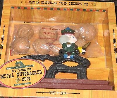 The Country Store Old Fashioned Metal Nutcracker  Nib Plus 3/4 Lbs Pecans