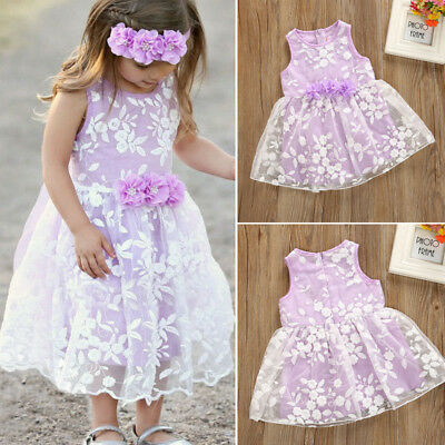 US Newborn Baby Girl Party Princess Pageant  Lace Floral Tutu Skirt Dress 0-24M