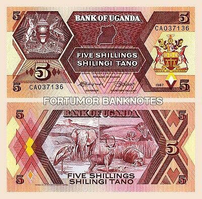 Uganda 5 Shillings 1987 Unc Bundle Consecutive Pack Of 100 Pcs  P 27