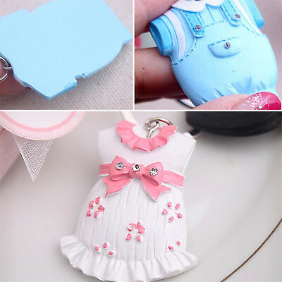 Cute Pink Baby Girl Dress Key Chain Baby Shower Christening Party Gift Decor BE