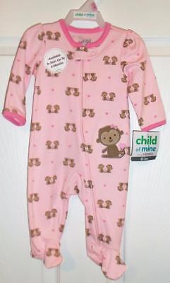 Carter's Child of Mine Girl's Monkey Footed Sleeper Choose Size 0-3m 3-6m  NEW