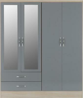 Gloss Grey / Light Oak Effect 4 Door 2 Drawer Wardrobe With Mirrors NADINE