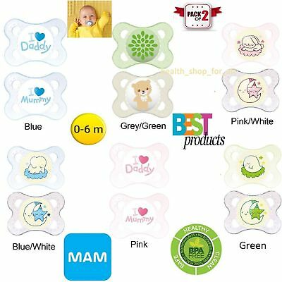 MAM Teat Orthodontic Dummy Soother Soft 2 PCS Silicon Nipple BPA Free 0-6 Months
