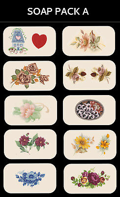 SOAP PACK 'A' Ceramic decals Decoupage Assorted designs to fit soaps Gift making
