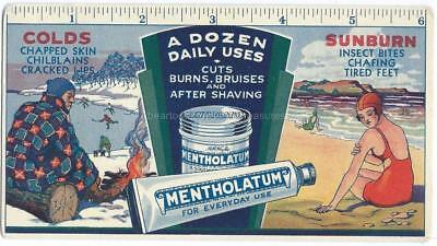 Antique Mentholatum Advertising Blotter Ruler Colds & Sunburn Colorful