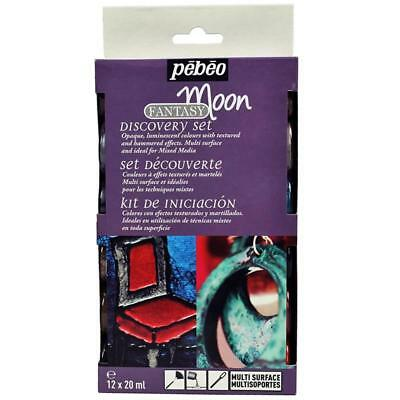 PEBEO FANTASY MOON DISCOVERY SET MULTI SURFACE CRAFT PAINT- 12 X 20 ml