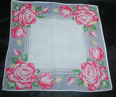vintage handkerchief  ROSE PRINT HANKY gray and pink OLD FASHIONED estate HAPPY