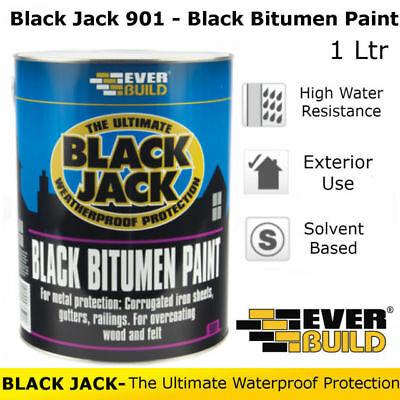 Everbuild 901 Black Bitumen Paint Black Jack Weatherproof Waterproof - 1 Litre
