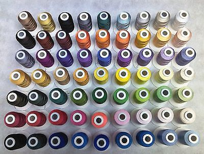 1000m Spools poly machine embroidery thread, 60 Brother equiv Shades cert EN71-3