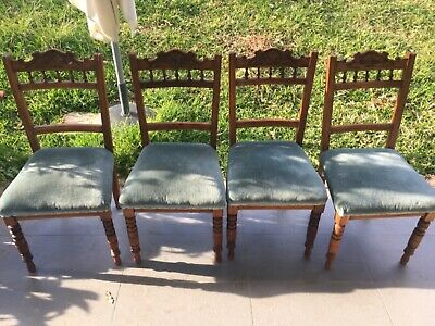 Set *4* Victorian Dining Chairs From Uk - Lovely Carved Design - Velvet Seats.
