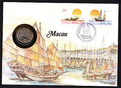 1984 Portuguese Macau Stamp & Coin Cover Ship Ships Boat Boating theme design