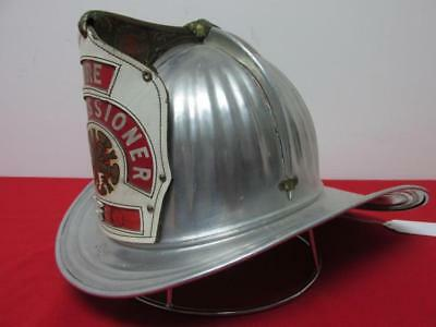 American CAIRNS leather piece aluminium fireman helmet eagle Commissioner 1930s