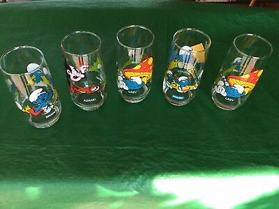 Set - 5 Vtg SMURF GLASSES Peyo Wallace Berrie 1982,LAZY, GROUCHY,BRAINY,GARGAMEL