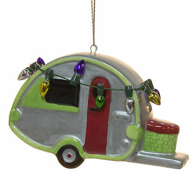 Ceramic Teardrop Camper Travel Trailer Christmas Ornament with Lights