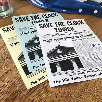 Back to the Future - BTTF Set of Prop Save the Clocktower Flyers