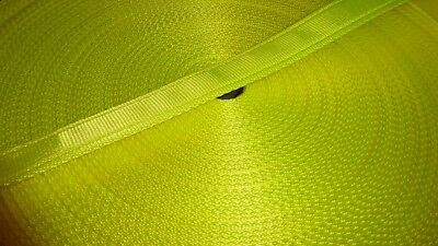25mm Wide Polypropylene Cushion Webbing FLO YELLOW, 1, 2 or 10 metres Lengths