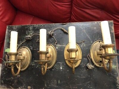 Set 4 Antique Brass Wall Sconces Electric Light  Fixtures Pull Button Switches