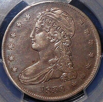 1838 50C Capped Bust Half Dollar Reeded Edge PCGS AU ~NICE NATURAL RE-TONING~