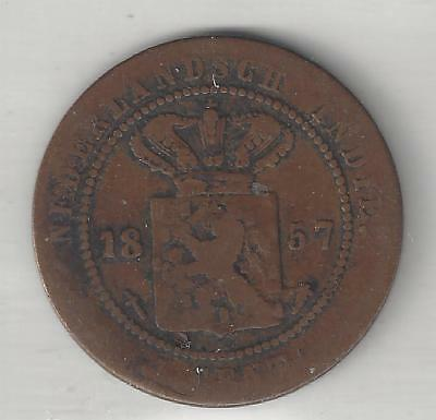 Netherlands, East Indies,  1857,  1 Cent,  Copper,  Km#307.1