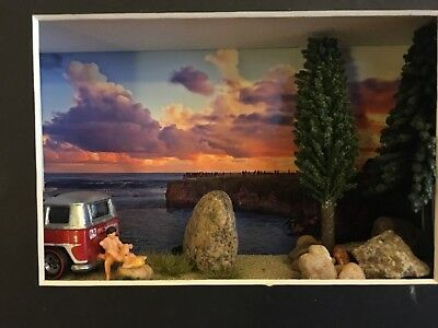 diorama adult styled van and on the road beach scenes