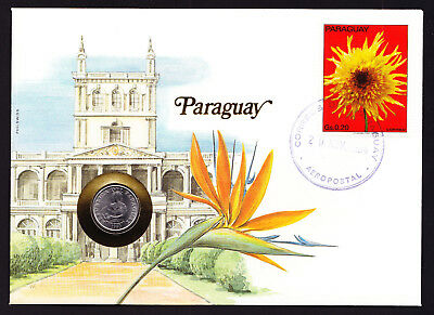 1984 Paraguay Flower Stamp & Coin Cover Architecture Building South American