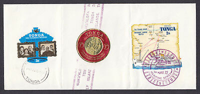 Three stamps on long 1972 Souvenir Tonga Cover Nukualofa postmarks Some Creases