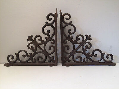 Pair of Vintage Wrought Iron Shelf Brackets Supports